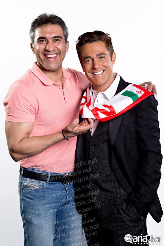 محمدرضا گلزار و احمدرضا عابد زاده / حامیان تیم ملی فوتبال در جام جهانی 2014