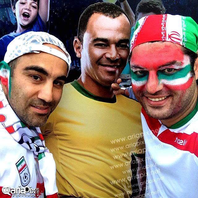عکسهای بازیگران ایرانی در حال تشویق بازی ایران و نیجریه در برزیل