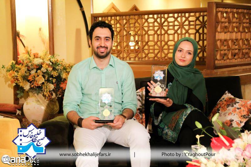 عکس مهدی یراحی ( خواننده) و گلاره عباسی در صبح خلیج فارس 93