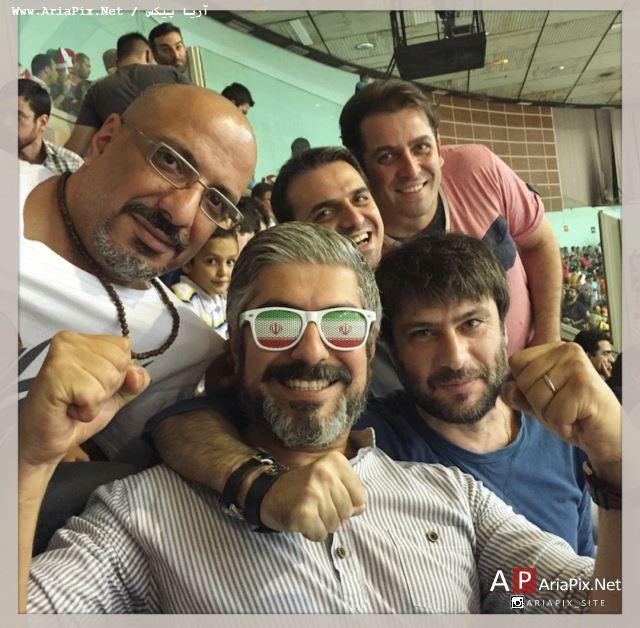بازیگران و هنرمندان در تماشای بازی والیبال ایران و آمریکا