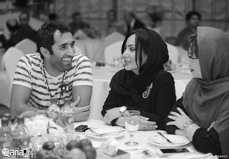 پرستو صالحی و هادی کاظمی در مراسم رونمایی آلبوم گروه دارکوب